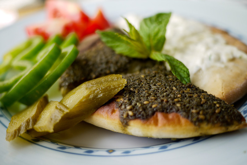 Jordanian Food Manakish with za atar