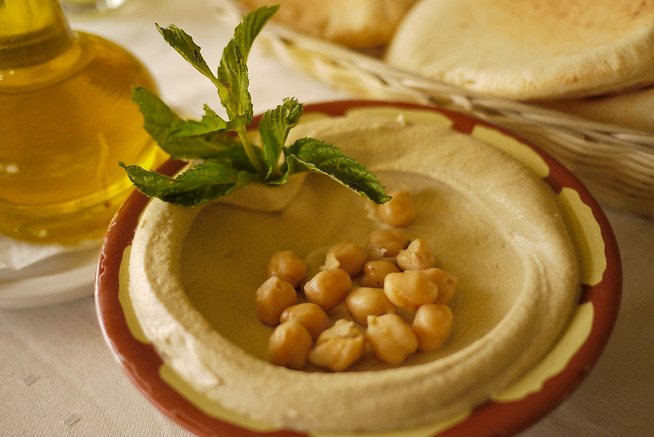 Closeup of hummus dip as a Jordanian mezze to start the meal.