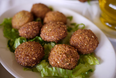 Falafel, deepfried mashed chickpeas served hot and traditionally with plenty of pita!