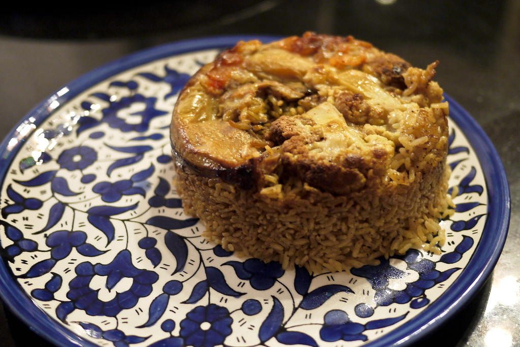 A vegetarian version of makloubeh
