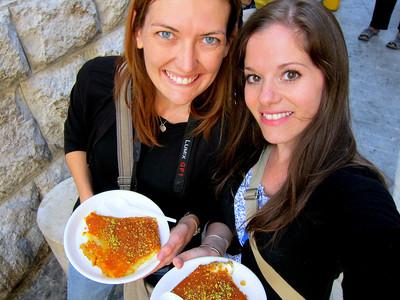 Eating Knafeh at Habiba in Amman, Jordan