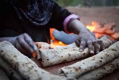 Making traditional shrak bread in Jordan