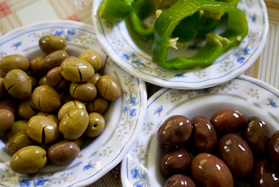 Olives and peppers compliment the mezze course in Jordan.