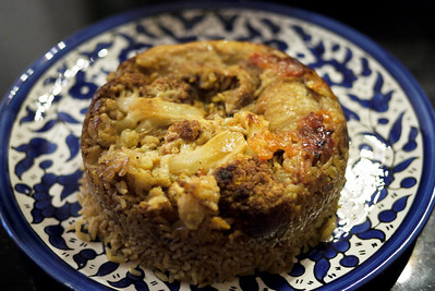 Vegetarian maaloubeh - perfectly cooked and standing on its own accord!