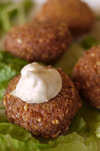Falafel with a dab of hummus