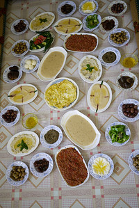 Laid out for a big meal with a Druze family in Jordan.