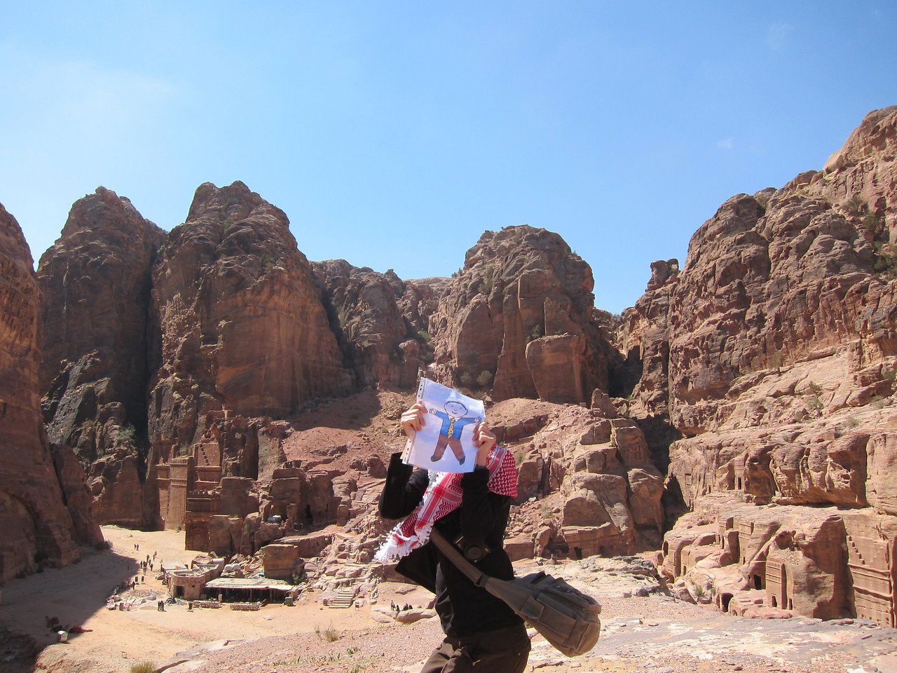A failed attempt to jump on the Street of Facades with Flat Stanley in Jordan.