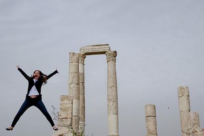 A starfish jump at the Amman Citadel from Jodi of Legal Nomads