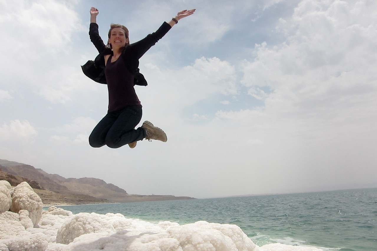 Jumping over the salt rocks at the Dead Sea in Jordan