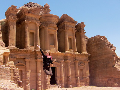 Jumping for joy at the Monastery (Ad-Deir) in Petra, Jordan.