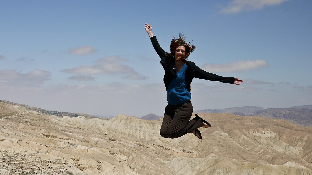 The cool blue skies and open deserts of Jordan stretch on for miles and call for some jumping!