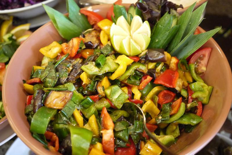 A delicious pepper salad at The Basin Restaurant inside of Petra, Jordan.