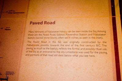 Sign giving details of Petra, Jordan.