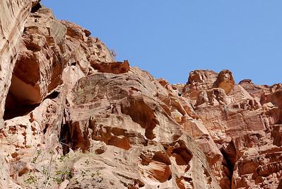 Blue skies and red rocks at Petra, Jordan.
