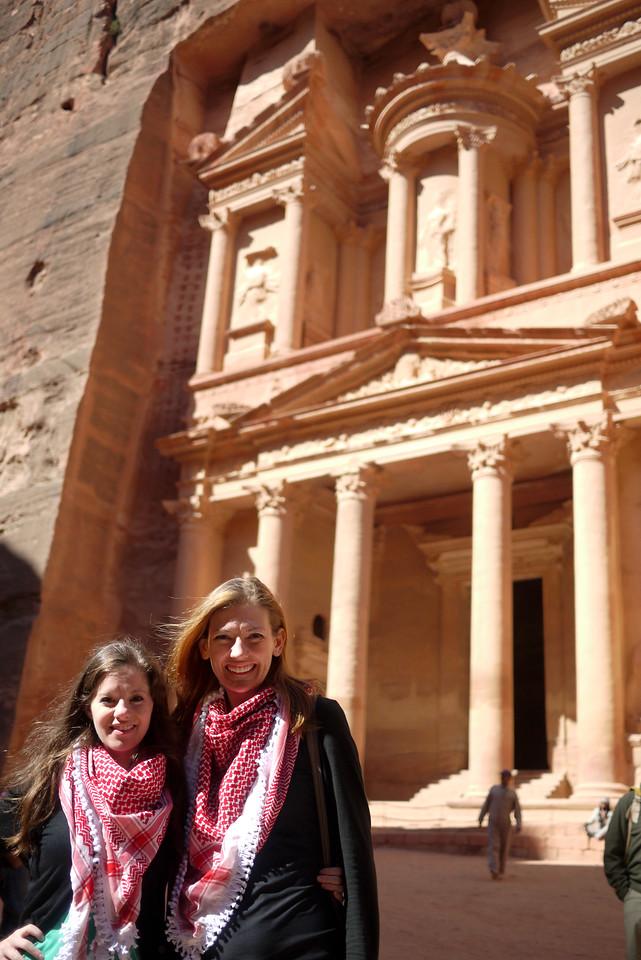 Jodi and Shannon at the Treasury in Petra, Jordan.