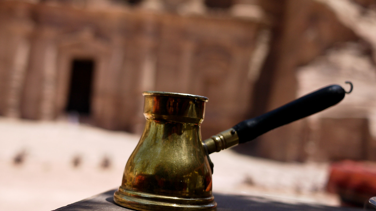 A typical Arabic coffee container in Petra, Jordan.