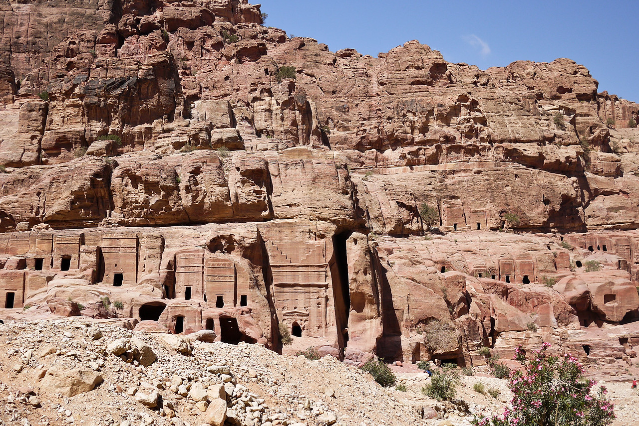 A sweeping view of the Street of Facades and the many structures the Nabataeans carved into the walls of Petra, Jordan.