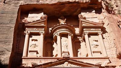 The upper portion of the treasury in Petra, Jordan.