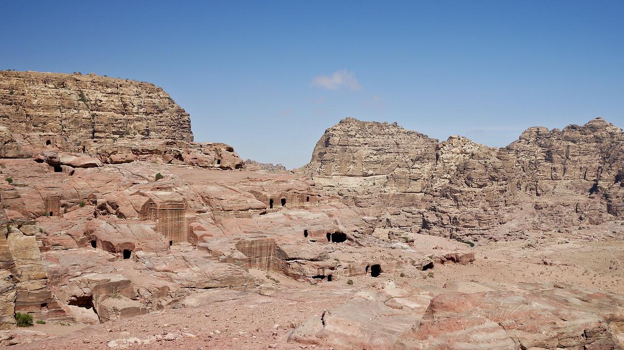 A sweeping vista over pieces of Petra, Jordan.