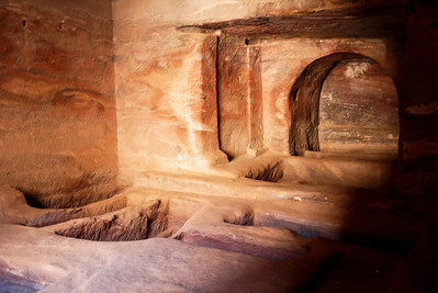 Inside one of the structures it is small but the details of the sandstone are more visible here! Petra, Jordan.
