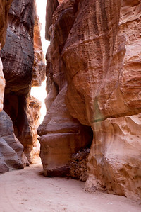The beautiful walls of the Siq leading to the Treasury in Petra, Jordan.