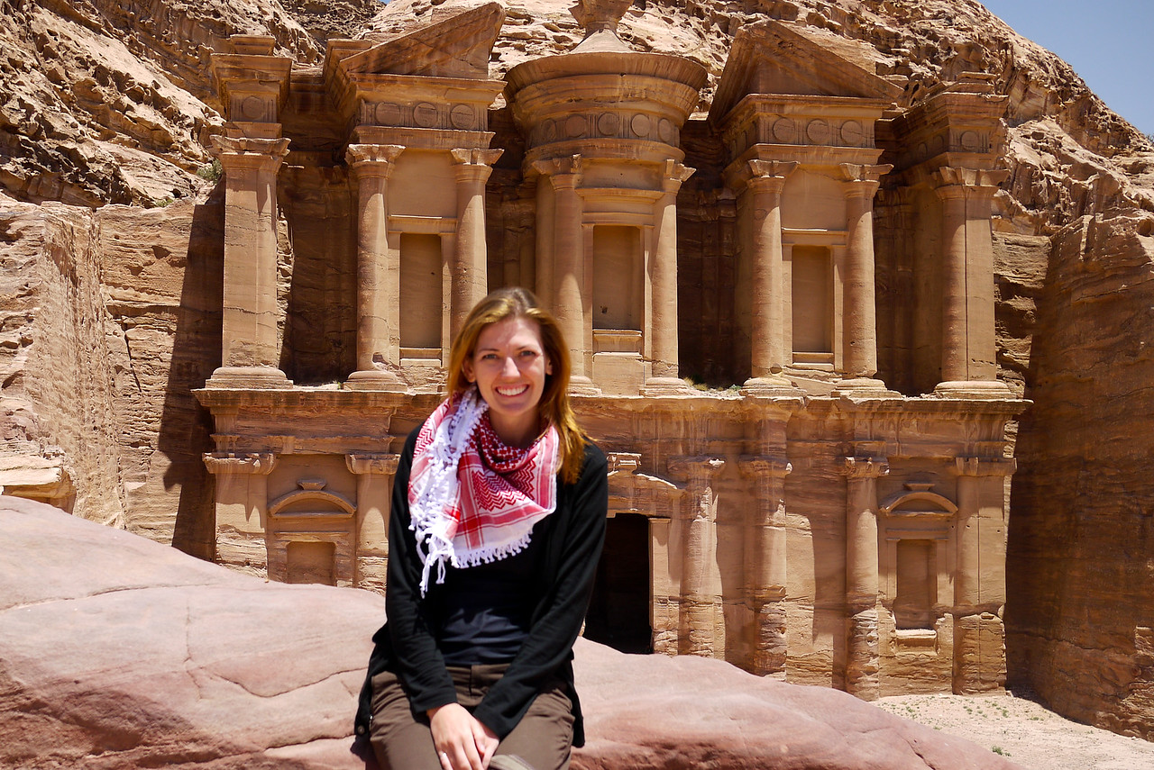 Me after hiking to the Monastery in Petra, Jordan.