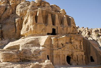 Elaborate cut rocks in Petra, Jordan.