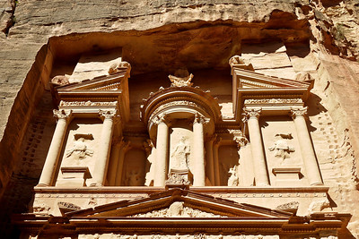 Details on the Treasury in Petra, Jordan in the mid-afternoon sun.