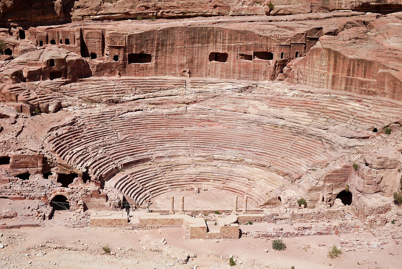 The huge amphitheatre in Petra, Jordan.