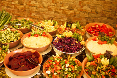 An array of mezze in Petra, Jordan.