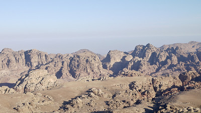 Huge rocks dot the landscape near Wadi Musa, Jordan.