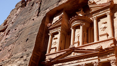 The beautiful and still intricately carved Treasury stands in Petra, Jordan.