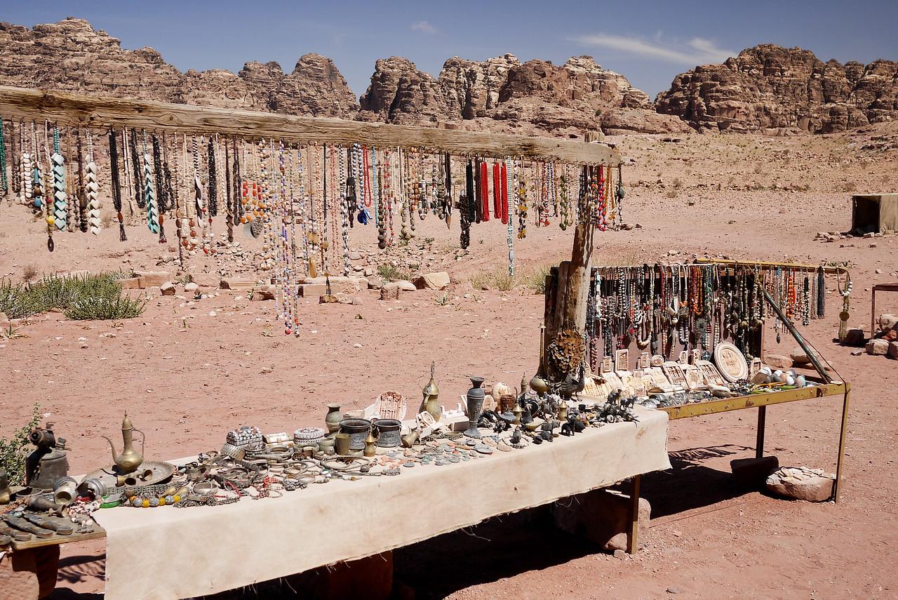 Souvenirs for sale by locals inside Petra, Jordan.