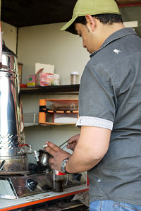 A multi-tasking coffee brewer in Jordan