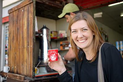 Enjoying a cup of hot, strong Arabic coffee from the a roadside vendor in Jordan Jordan