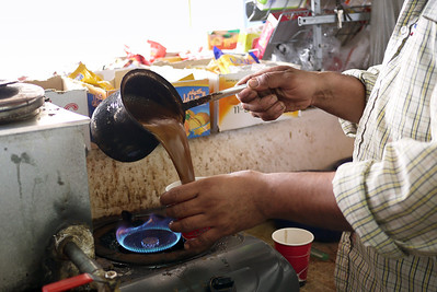 Making fresh Arabic coffee in Jordan