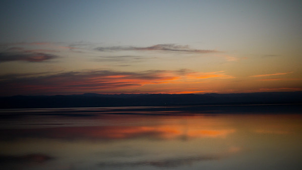 A riot of colors as the sun sets over the Dead Sea from Jordan