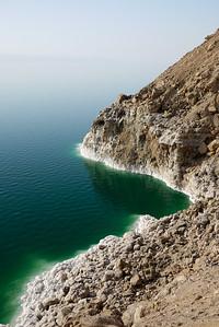 The pretty coastline at Jordan's side of the Dead Sea