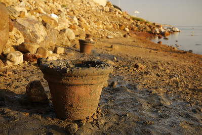 The clay pots with mud at the Dead Sea from Jordan