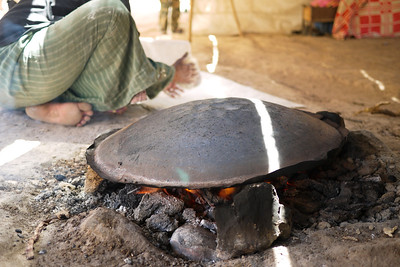 A saj, a hot inverted wok used to make traditional thin shrak bread, near the Feynan Ecolodge in Wadi Feynan, Jordan