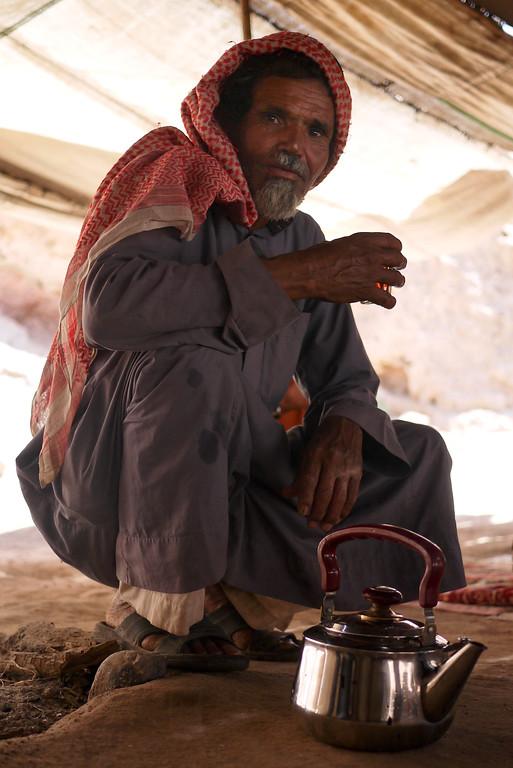 Abu Abdallah serving tea near the Feynan Ecolodge in Wadi Feynan, Jordan