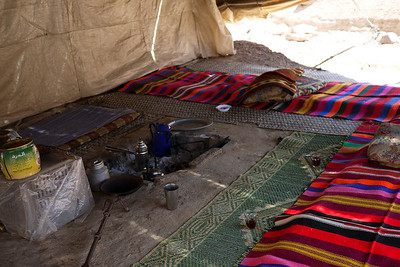 A Bedouin tent set up for welcoming guests near the Feynan Ecolodge in Wadi Feynan, Jordan
