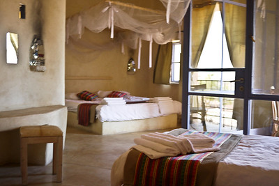 The gorgeous rooms at the Feynan Ecolodge in Wadi Feynan, Jordan