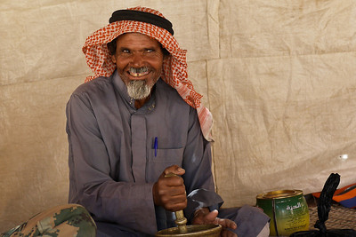 Abu Abdullah was quite the character as he taught us how to make traditional cardamom coffee in his tent near the Feynan Ecolodge in Wadi Feynan, Jordan