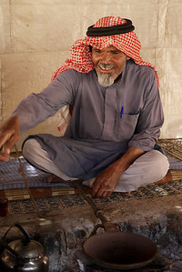 Abu Abdullah teaching us how to make traditional Bedouin coffee near the Feynan Ecolodge in Wadi Feynan, Jordan