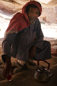Abu Abdullah serving tea near the Feynan Ecolodge in Wadi Feynan, Jordan