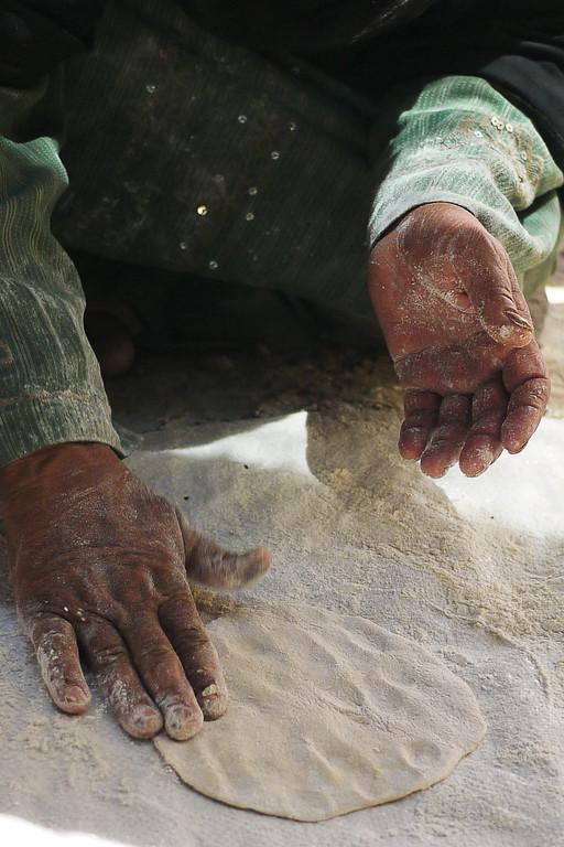 Handmade shrak, a type of locally made bread, near the Feynan Ecolodge in Wadi Feynan, Jordan