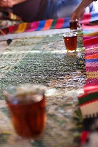 The traditional serving of sweetened tea at the Feynan Ecolodge in Wadi Feynan, Jordan