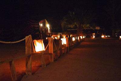 Lanterns light the way through the tent camp in Wadi Rum, Jordan