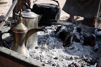 A Bedouin camp's fire-pit in Wadi Rum, Jordan